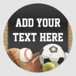 All Star Sports Balls Personalized Name Boy's Classic Round Sticker