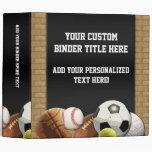 All Star Sports Balls w/ Brick Wall 3 Ring Binders