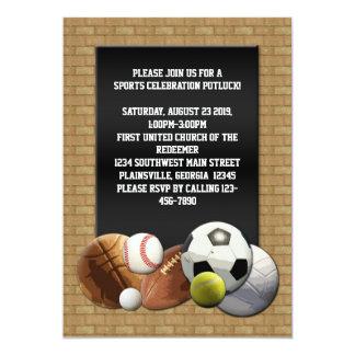 All Star Sports Balls w/ Brick Wall 5x7 Paper Invitation Card