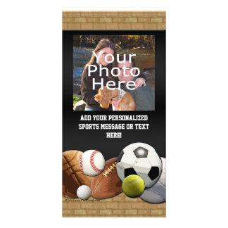All Star Sports Balls w/ Brick Wall Photo Card Template