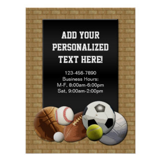 All Star Sports Balls w Brick Wall Sign Poster Posters