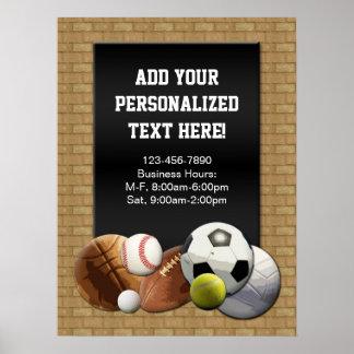 All Star Sports Balls w/ Brick Wall Sign Poster