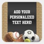 All Star Sports Balls w/ Brick Wall Square Sticker