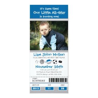 All Star Sports Birthday Ticket 4x9.25 Paper Invitation Card