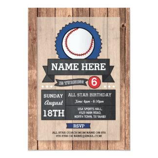 All Star Sports Party Baseball Birthday Invite