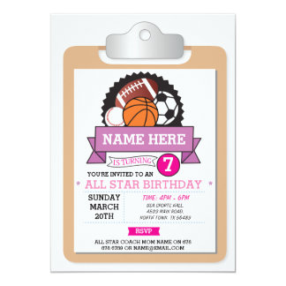 All Star Sports Party Pink Girls Birthday Invite