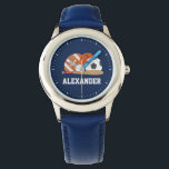 """All Star Sports Wristwatch<br><div class=""""desc"""">CLICK ON CUSTOMIZE IT! TO CHANGE BACKGROUND COLOR.   Sports themed design.</div>"""