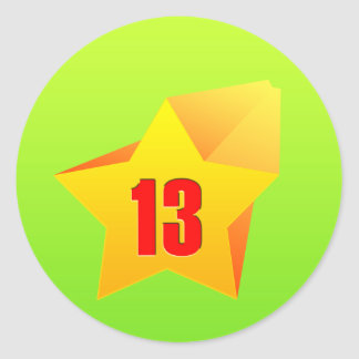 All Star Thirteen years old Birthday Round Stickers