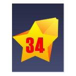 ¡All Star treinta y cuatro años! Cumpleaños Tarjeta Postal