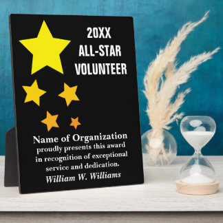 All-Star Volunteer Service Recognition Award Plaque