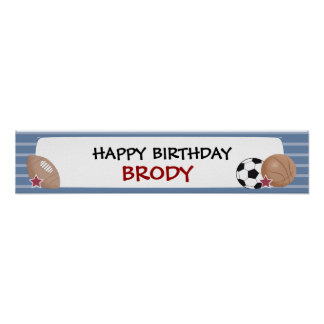 ALL STARS Sports Birthday or Baby Shower Banner Poster