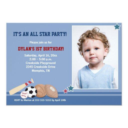 All Stars Sports *PHOTO* Birthday 5x7 Card