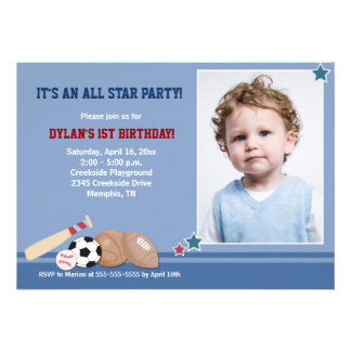 All Stars Sports PHOTO Birthday 5x7 Personalized Announcement
