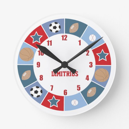 All Stars Sports theme Nursery Wall Clock