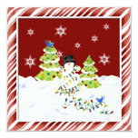 "All tangled up, Snowman with Christmas Tree Lights 5.25"" Square Invitation Card"