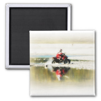 All terrain Off Road Kid on 4 wheeler 2 Inch Square Magnet