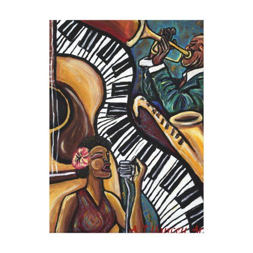 All That Jazz Wrapped Canvas Print