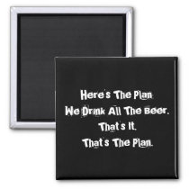 All The Beer Funny 2 Inch Square Magnet