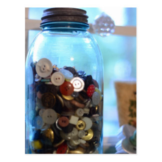 All the Buttons in the Ball Jar with a zinc lid Postcard