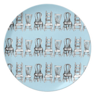 All The Chairs Melamine Plate