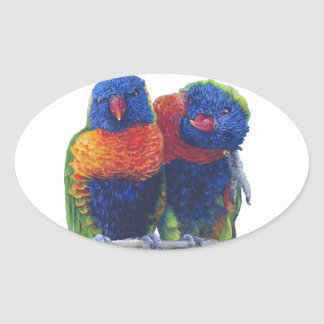 All the colors of the Rainbow Lorikeets Oval Sticker