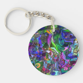 All the Colors with Swirls and Lines Keychain