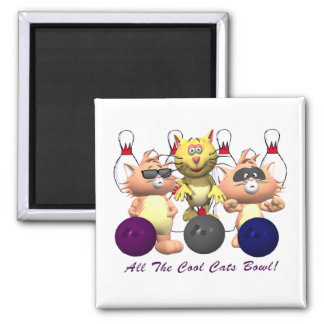 All The Cool Cats Bowl 2 Inch Square Magnet