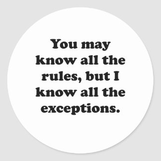 All The Exceptions Stickers