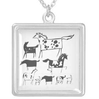 All the pretty horses square necklace