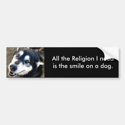 All the Religion I need is the smile ... Bumper Sticker