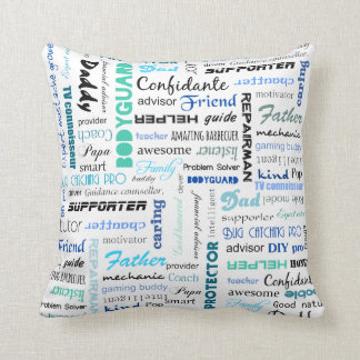 All the things a dad is to me typography throw pillow
