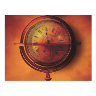 All the Time in the World Steampunk Clock Globe Postcard