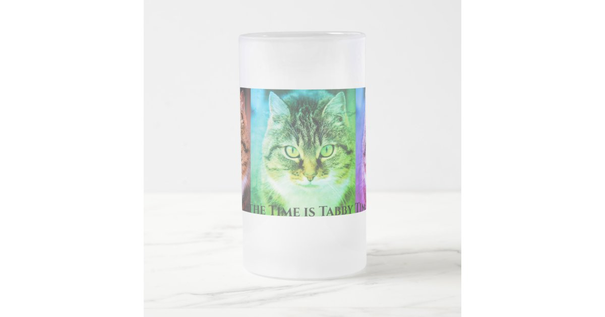 All the Time is Tabby Time Multicolor Frosted Glass Beer Mug | Zazzle.com