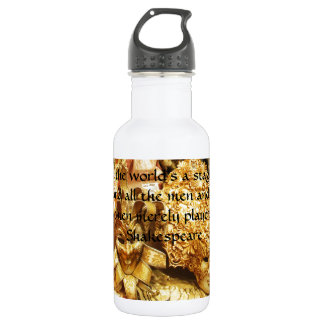 All the world's a stage Shakespeare quote 18oz Water Bottle