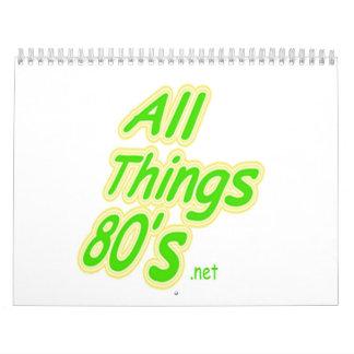 All Things 80's Calandar Calendar
