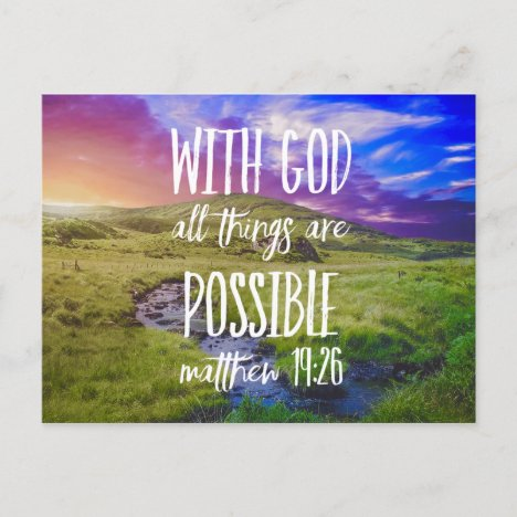 All Things Are Possible Bible Verse Scripture Postcard