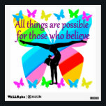 """ALL THINGS ARE POSSIBLE FOR THIS GYMNASTICS GIRL WALL DECAL<br><div class=""""desc"""">All things are possible for that Gymnast who believes she is going to achieve her Gymnastics goals and dreams. This excellent Gymnast will treasure this beautiful rainbow butterfly inspirational women&#39;s Gymnastics design on Tees, jewelry, home decor, wall art and Gifts. This wonderful Gymnast is pursuing her goals and dreams to...</div>"""