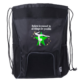 ALL THINGS ARE POSSIBLE GYMNASTICS DESIGN DRAWSTRING BACKPACK