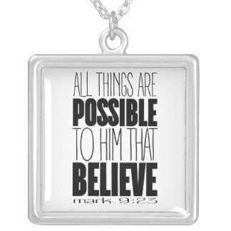 """All Things Are Possible"" Square Necklace"