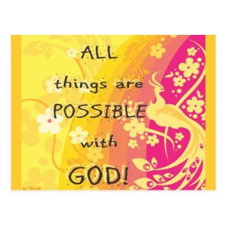 All things are possible with GOD! Postcard