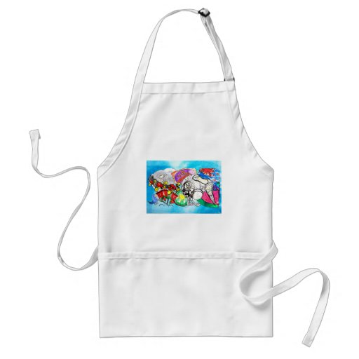 """""""All things Kiwi"""" created from a child's drawings Adult Apron"""