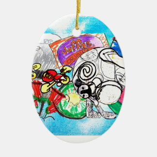 """""""All things Kiwi"""" created from a child's drawings Ceramic Ornament"""