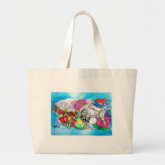 """""""All things Kiwi"""" created from a child's drawings Large Tote Bag"""