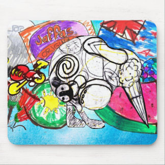 """""""All things Kiwi"""" created from a child's drawings Mouse Pad"""