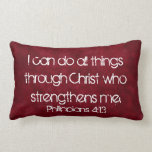 all things through Christ bible verse pillow