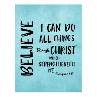 All things through Christ Bible Verse Postcard