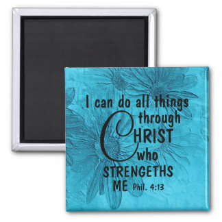 all things through Christ blue daisy magnet