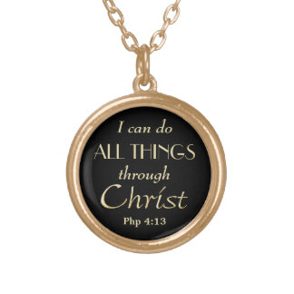 All Things Through Christ Gold Christian Gold Plated Necklace