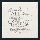 "All Things Through Christ - Philippians 4:13 Stone Coaster<br><div class=""desc"">Trendy typography from the the verse in Philippians 4:13,   &quot;...  I can do all things through Christ ...  &quot; Background can be customized to the color of your choice. Designed by Simply Scripture by Robin.</div>"