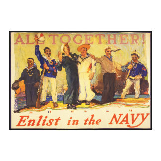 All Together! Enlist in the Navy World War 1 1917 Canvas Print
